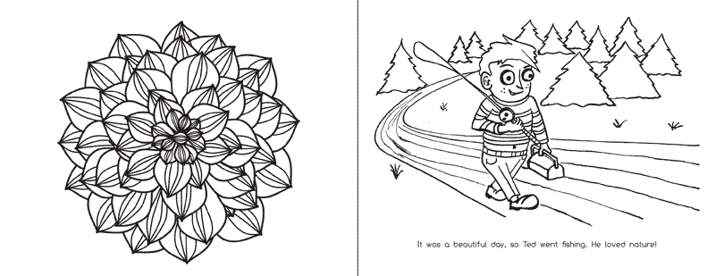 Sample of the left and right colouring pages